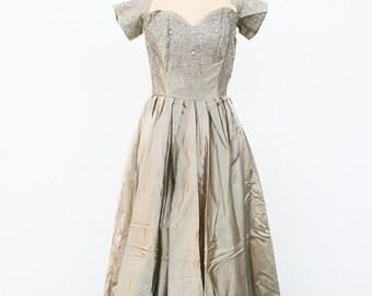 1940s vintage satouche metallic gown