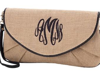 Monogrammed Burlap Crossbody Purse, Burlap Linen Blend, Patent Trim, Wristlet, Straps