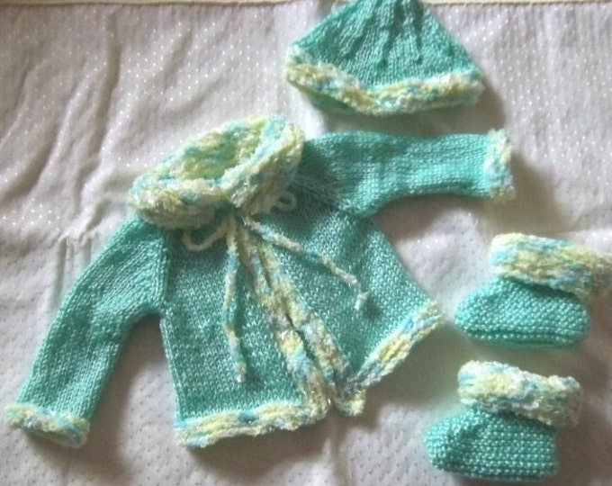 Baby Set - Hand Knitted Green - Baby Set for 12 -18 Month