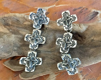 E94T Triple  Galisteo Cross Southwestern Style Sterling Silver Earring from Santa Fe