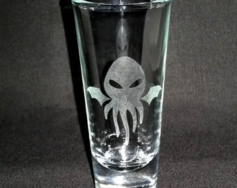 Cthulhu Shot Glass Etched Shooter Shotglasses Seamonster Octopus Squid