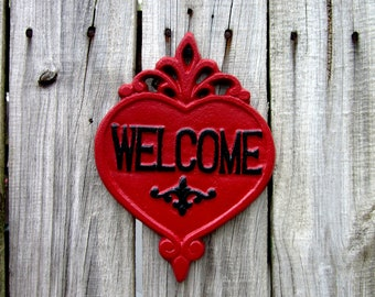 Welcome Sign, Red, Black, Plaque, Cast Iron, Home Sign, Welcome, Door Welcome Sign, Heart Plaque, Ornate Welcome Sign, Indoor, Outdoor