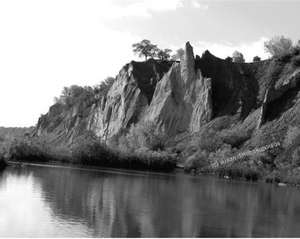 Scenery, Bluffer's Park, Toronto Canada, blank card, Scarborough Bluffs, black white photo, write your own msg