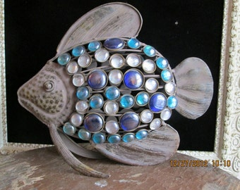 Unique Vintage Decorative glass colorful stone fish pisces art