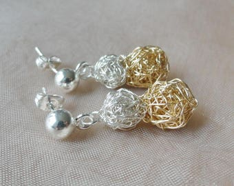 Silver earrings 925 gold silver with gold filled ball earrings
