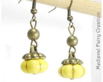"""""""Halloween Pumpkin"""" yellow earrings"""