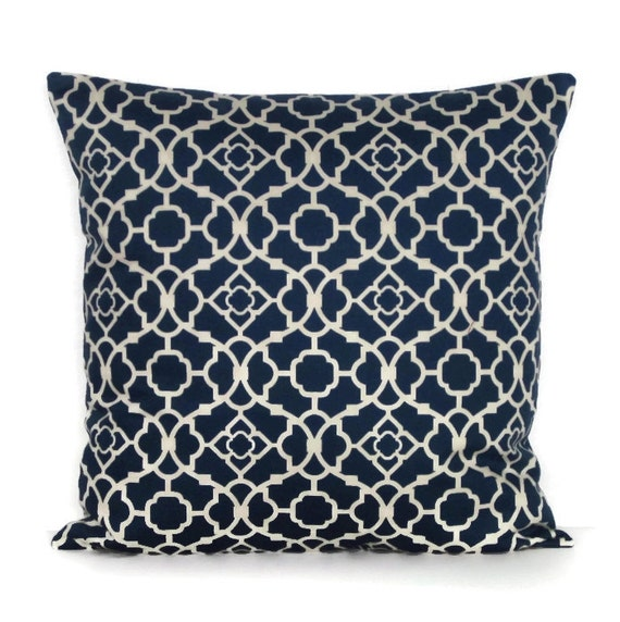 Navy Blue Geometric Pillow Cover Decorative Throw Ivory 16x16
