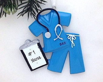 Blue Scrubs Personalized Christmas Ornament / Nurse Christmas Ornament / Doctor Christmas Ornament / Custom Name or Message