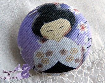 Fabric button, purple Japanese doll, 22 mm / 0.86 in