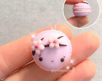 Kawaii sakura macaron charm, Polymer Clay Charms, Sakura necklace, sakura jewelry, kawaii charms, cute jewellery, planner charms, keychain