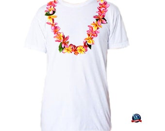 Plumeria Lei 100% combed cotton T-shirt derived from a design by artist Kathy Baumann.
