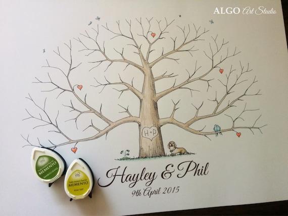 Wedding Thumbprint Tree Unique Wedding Guestbooks