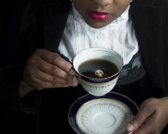 Deathly Tea Photo Print - Free US Shipping - Multiple Sizes - Woman Black - Black Tea with Skull - Poision Teacup Tea - Portrait - Fine Art