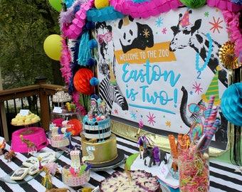 Party Animal zoo party backdrop - printable file, lion, zebra, elephant, giraffe, birthday party, table backdrop, dessert table, party decor