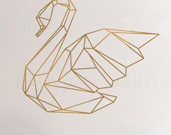 Geometric Swan Wall Sticker Home Decor Wall Decals, Swan Vinyl Wall Stickers