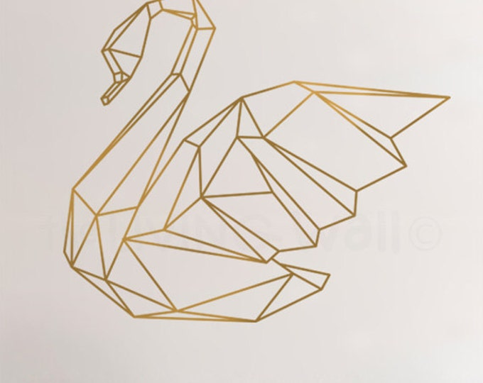 Featured listing image: Geometric Swan Wall Sticker Home Decor Wall Decals, Swan Vinyl Wall Stickers