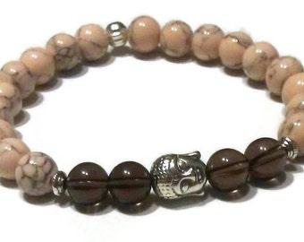 Smoky Quartz Tan Magnesite Buddha Bead Meditation Bracelet