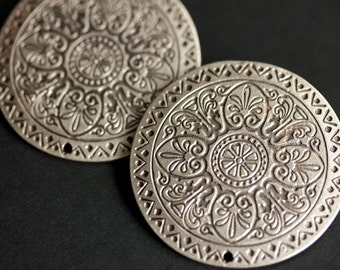 Set of Two Stamped Silver Viking Brooches. Silver Apron Pins. Norse Brooch Set. Compass Mandala Shoulder Brooches. Norse Reenactment Jewelry