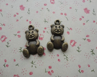 100pcs 25mmx16mm Bear Antique Bronze Retro Pendant Charm For Jewelry Pendant