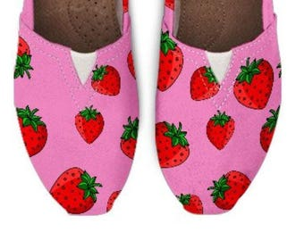 Custom Girls Shoes, Toms Style Shoes, Strawberry Toms, Girls Shoes Pink