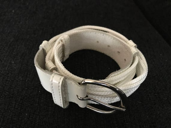 Vintage Vacher white leather with white ropes French belt