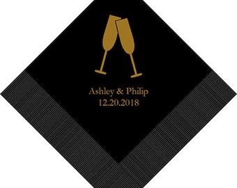 Set of 100 Champagne Flutes Design Wedding Napkins - Paper Wedding Napkin - Personalized Wedding Napkins - Engagement - Wedding Reception