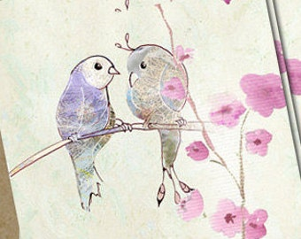 Lovebirds,love birds card, birds postcards, birds greeting card, romantic greeting, nature postcard, 5 romantic art card, romantic love card