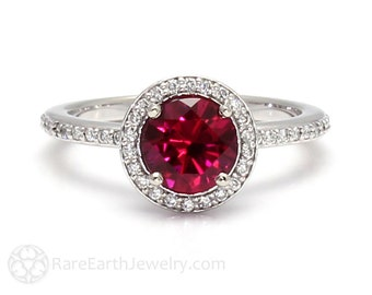 Ruby Engagement Ring Round Diamond Halo Ruby Ring Custom Bridal Jewelry July Birthstone Red Stone