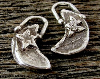 Sterling Silver Moon Charms  - Sweet Dreams 2 Rustic Moon and Star Charms  Oakhill Silver Supply AC153