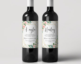 Will you be my bridesmaid wine label  - Maid of Honor Custom label - Flroal Rustic Bridal Party Gift - Bridesmaid Proposal Idea