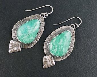 Amazonite Earrings, sterling silver, bohemian earrings, dangle earrings, michele grady, green silver, stamped, green amazonite