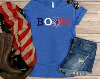 Boom! 4th of July tee, Graphic Tee, Forth of July, Patriotic, Red White and Blue, Firework