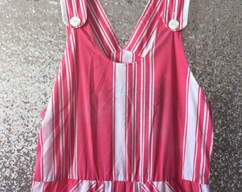 vintage pink and white striped overalls