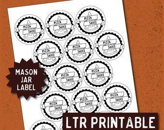 PRINTABLE Mason Jar Label / Pizza Sauce / 2 inch Label