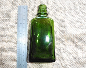 Vintage Green Glass Bottle - Medium