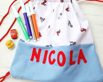 Personalized Drawstring Backpack for nursery, baby daycare or kindergarten, handmade in Italy.