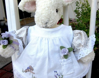 Knit Stuffed Animal, Bunny Doll, Hand Knit, Collectible Heirloom/ Olivia, Little Flower Girl