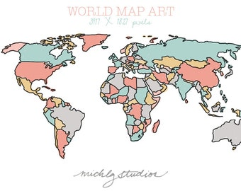 World map watercolor etsy vector and png world map watercolor outline digital clip art state country gumiabroncs Image collections