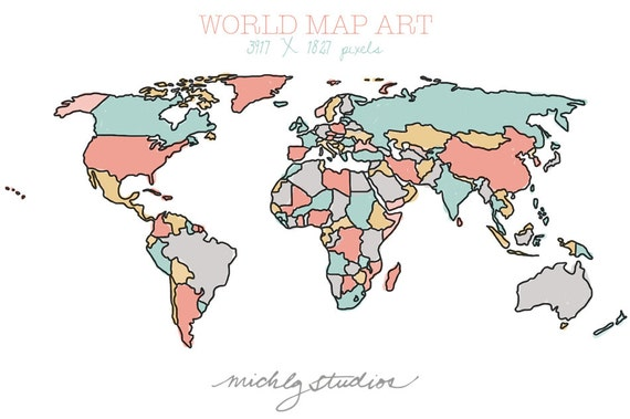 vector and png world map watercolor outline digital clip