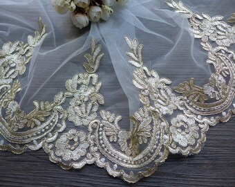 Gold Alencon Lace, Vintage Scalloped Trim Lace, Wedding Veils Edge Lace, Bridal Dress Fabric by the yard