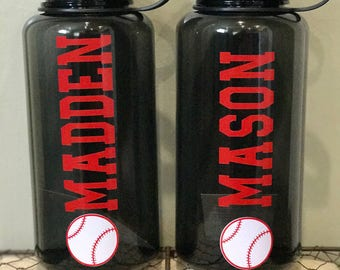 Personalized Sports Water Bottle - Baseball with Name