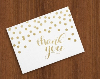 Gold Glitter Confetti Dots Shower / Wedding / Thank You Cards