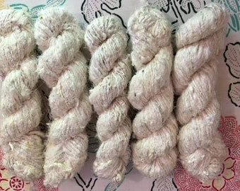 White Recycled Silk Yarn, Bulky Weight, Handspun, 3.5 oz / 100 grams, 50 yards, Upcycled, Knit, Crochet, Weave, Bright, Fuzzy