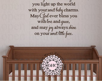 Nursery Saying Wall Decal - Wee little baby fresh from God's arms Vinyl Lettering  22h x 36w CB0005