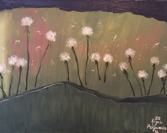 Original Oil painting on canvas signed by artist Rogue Perfumer high quality paints Sale surreal dandelions 18 x  24