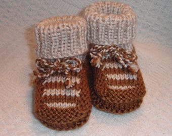 Hand knit baby Booties - Top Stripe Booties with Ankle Tie