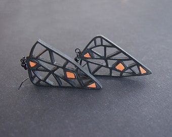 Earrings - modern, contemporary jewelry design, FREE Shipping, limited edition, handmade, lasercut wood, polymer clay, black steel hooks