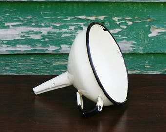 Vintage Metal Funnel Enameled Funnel Vintage Kitchen Home Decor Rustic Style White Funnel Vintage Funnel Shabby Chic