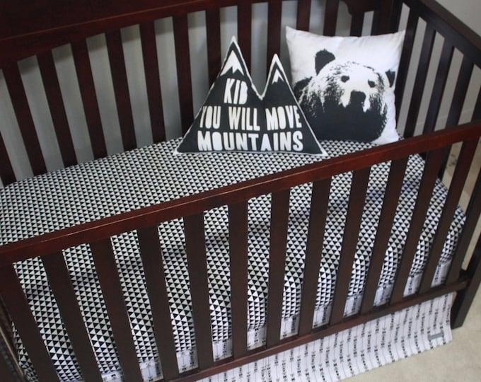 Black and White Woodland Baby Bedding--Gender Neutral Crib Bedding