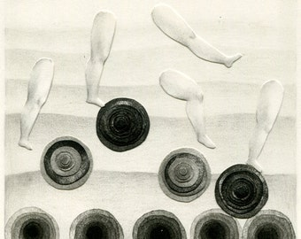 Original mixed media drawing - The legs and the circles